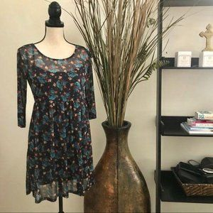 Flower Print Tunic Style Dress Mesh Small